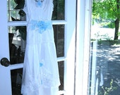 White and blue slip dress, vintage slip dress, wedding dress, altered, eco chic, ruffles, romantic, 32 inch bust S, XS - On Sale
