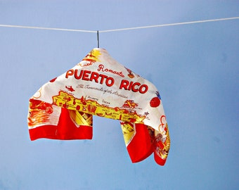 Puerto Rico Souvenir Hair Scarf 1950s Novelty Print Collectible Travel Scarf Red Orange Yellow Hand Rolled Rayon Tourist