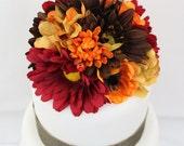 Wedding Cake Topper - Fall Yellow Hydrangea, Brown Gerbera, Red Gerbera Silk Flower Wedding Cake Topper