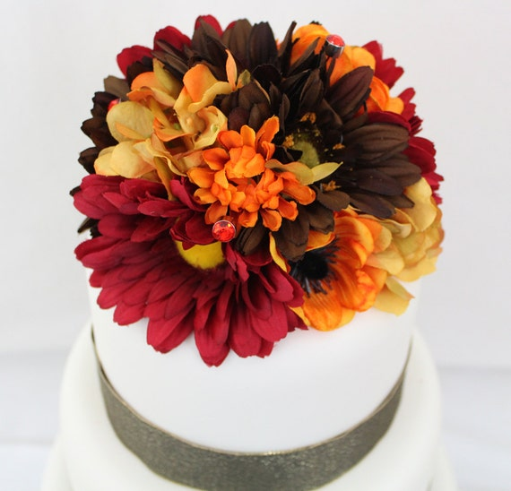 silk flowers for wedding cake toppers wedding cake topper fall yellow hydrangea brown gerbera 19838