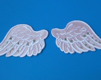 SALE~ 2 pcs iron-on Embroidered Patch Angel Wings w/ shining rhinestuds 2.75 inch