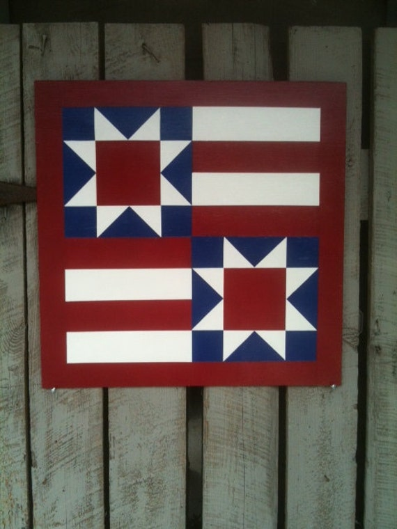 Items Similar To Painted Wood Barn Quilt Star Amp Stripes