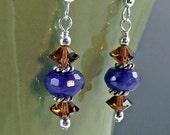 Blue Jade Earrings - Purple and Brown Earrings - Blue Jade and Topaz Crystal Earrings - Purple Earrings