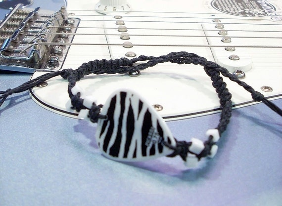 Zebra Guitar Pick Hemp Bracelet