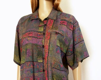 Vintage 1980s Pant Set Batik Look Mauve Teal Top and High Waist Slacks / Small to Medium