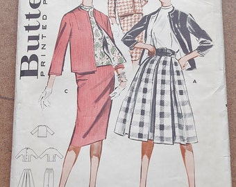Vintage 50s Sewing Pattern, Butterick 9110, Coordinates Skirt and Jacket Set, 50s Skirt, 50s Jacket Sewing Pattern, Skirt Suit,Bust 34 Small