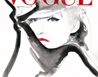 Vogue Cover Print, Fashion Illustration, Fashion Watercolor Print, Vogue Cover Art,  German Vogue Cover, Cate Parr, Vogue Wall Art