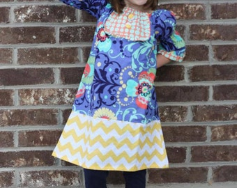 Good Day Sunshine Peasant Dress- Available sizes 5-10 and in 3 sleeve lengths (long, 3/4, or short sleeves)