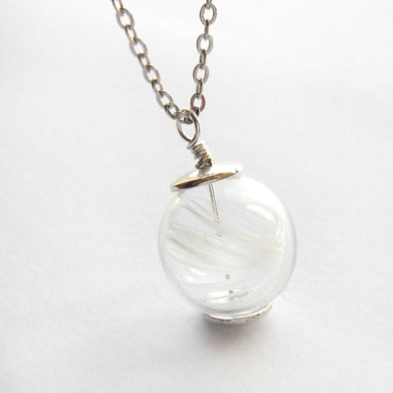 white feather necklace clear glass bead necklace hollow