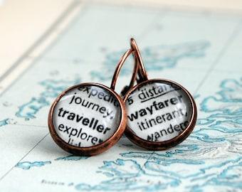 Traveller Earrings, Journey Earrings,  Dictionary Words, Word Earrings, Wayfarer Earrings, Wanderer Earrings, Enjoy The Journey, Love Life