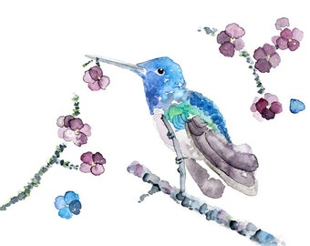 Blue, Violet, Hummingbird Print, Hummingbird Painting, Watercolor Bird, Girl's Bedroom Art, Hummingbird Picture, Bird Print, Bedroom Decor