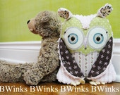 WHOOt Owl Pillow. Plush Owl Friend for Nursery - Green Pink and Brown Cotton Fabrics with Pink Chenille