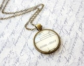 Summer necklace.  Jewelry made with vintage sheet music under glass dome in vintage style pendant
