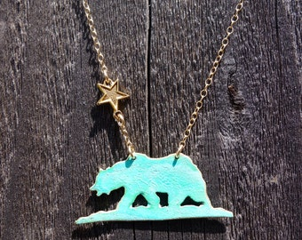 California Patina Bear Necklace Handcrafted