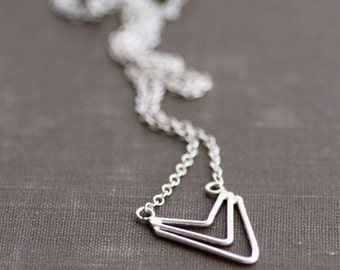Chevron Arrow Necklace - Sterling Silver