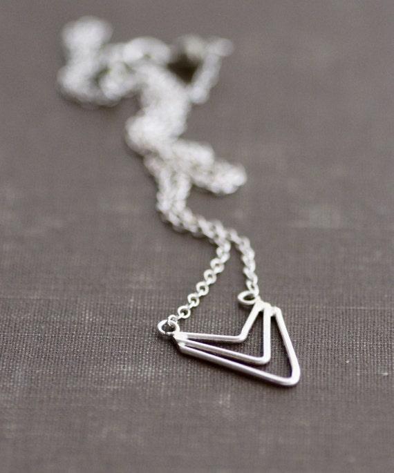 Chevron Arrow Necklace - Sterling Silver