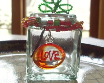 Warm Love - Wire Wrapped Beaded Jar - Plant Rooter / Treasure Keeper