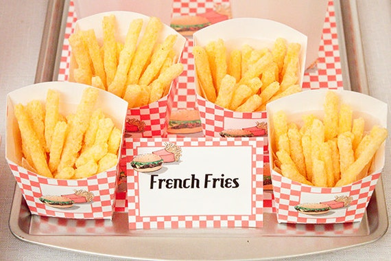 french fries packaging template - items similar to french fry snack boxes diy printable