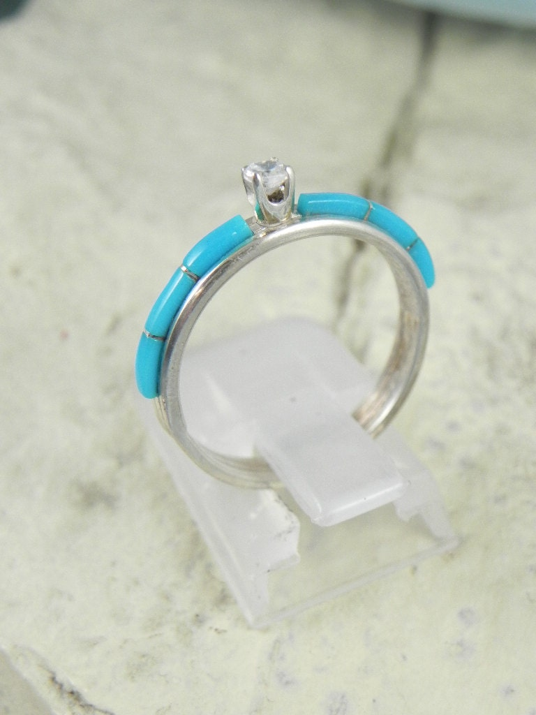 native american turquoise engagement ring zoom - Native American Wedding Rings