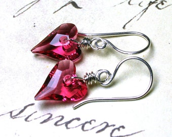 Wild Heart Swarovski Crystal Earrings in Indian Pink- Handmade with Sterling Silver and Swarovski Crystal