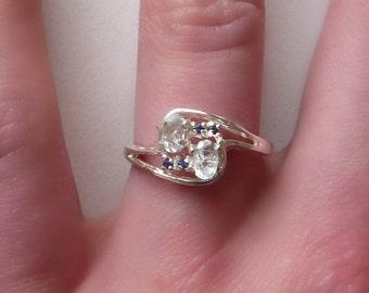 Natuaral Aquamarine & Sapphire Ring Sterling Silver