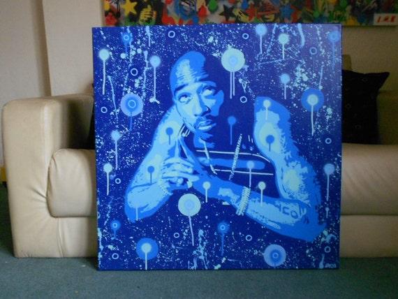 Tupac Painting Large Canvas Custom Hip Hop 2pac Rap Stencil