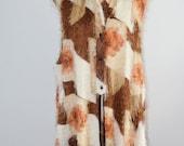 Free Shipping US Fashion 70s Cape Floral Shaggy Fuzzy Metallic Fabric XL