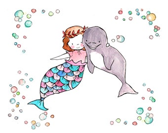 Under the Sea II - Mermaid Bubbles Nursery Art Print