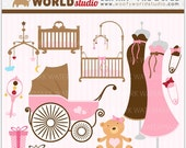 Sweet Pink Boutique Baby Shower Clipart - INSTANT DOWNLOAD - Digital Clip Art - WA202C1b