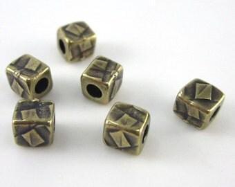 TierraCast Leather Findings Line-6 Brass Oxide TierraCast Small  Rock & Roll Cube Beads