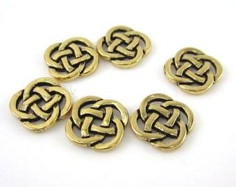 6 Gold Tierracast Celtic Open Knot Links