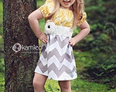 Girls Yellow White and Grey Chevron Dress with Removable Flower (sizes 6M to 11/12)