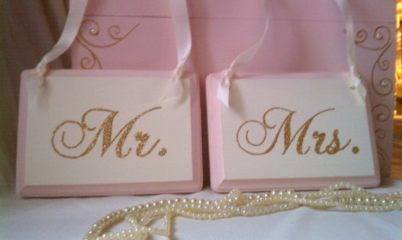 Glitter Mr & Mrs Wedding Signs In Your Wedding Colors and Wording Blush Wedding, Bling Wedding, Pink and Gold Wedding