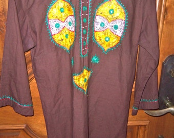 70s ZUBIN--Made in india--Embroidered Tunic--Yellow and Green--Mirrors--Cotton--Ethnic--Boho--Hippie Chic--Top or Mini