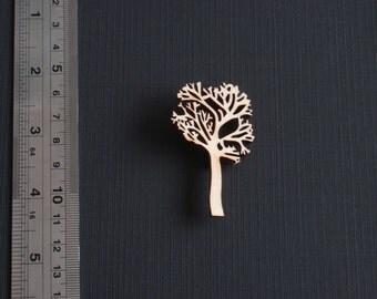 Wooden tree brooch. Natural wood tree brooch. Tree pin. Tree broach. Wooden laser-cut tree brooch. Nature brooch. Horticulture gift.