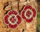 Red Beadwork Earrings, African Beaded Earrings, Maasai Beading, Garnet Earrings