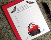 RESERVED vampire kids skull cupcake lined birthday halloween costume party invitations with red envelopes DIY can be customized - set of 10