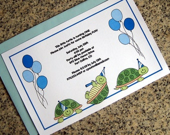 turtle boy trio with party hats and balloons full sized fully custom birthday invitations with blue envelopes - set of 10