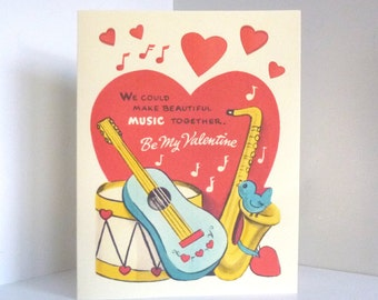 Vintage Music Instrutments Valentine Card Reproduction with Bird Drum Guitar and Sax