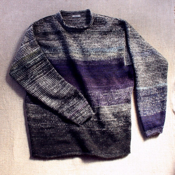 Midnight Hour M Mens (L Womans) unisex urban sweater, knit cotton tape and kid mohair