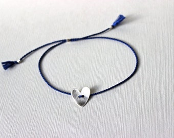 Blue silk thread bracelet with brushed Sterling Silver heart - adjustable