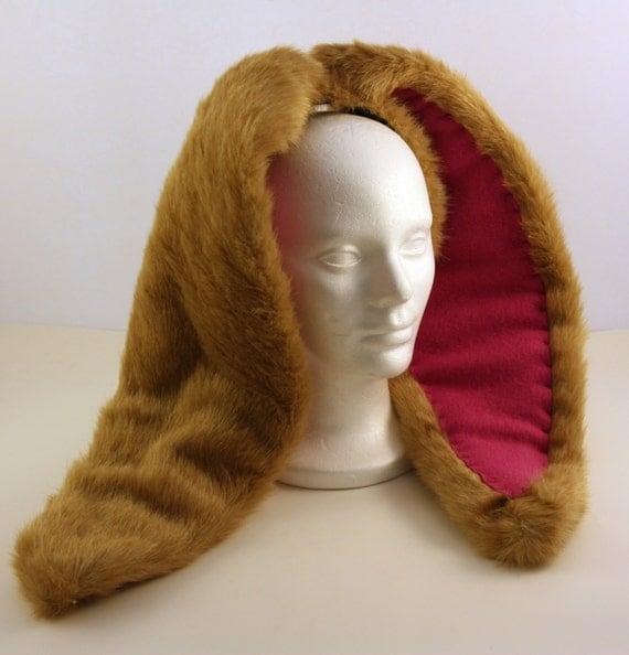 Oversized XL Floppy Bunny Rabbit EARS - Tan Short Hair - Kawaii - Burning Man - Cosplay - Rave - Halloween