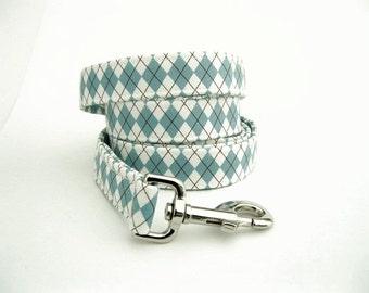 Argyle Dog Leash - Blue and Ivory McAllister Argyle