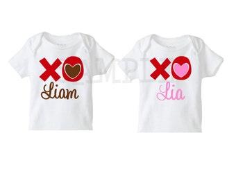 Valentines XOXO Tshirt or Bodysuit, Set of 2 ,  Girls or Boys