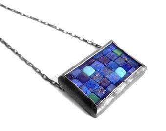 Mosaic Necklace - Lapis Lazuli Turquoise Silver Necklace - Mosaic Pendant - Rectangular Pendant - silver bar pendant - blue mosaic necklace