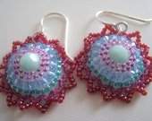 RESERVED. Caribbean Sun. Beaded dangle earrings and necklace set. Blue, green red, crystals, swarovski, beadwork, gift for her