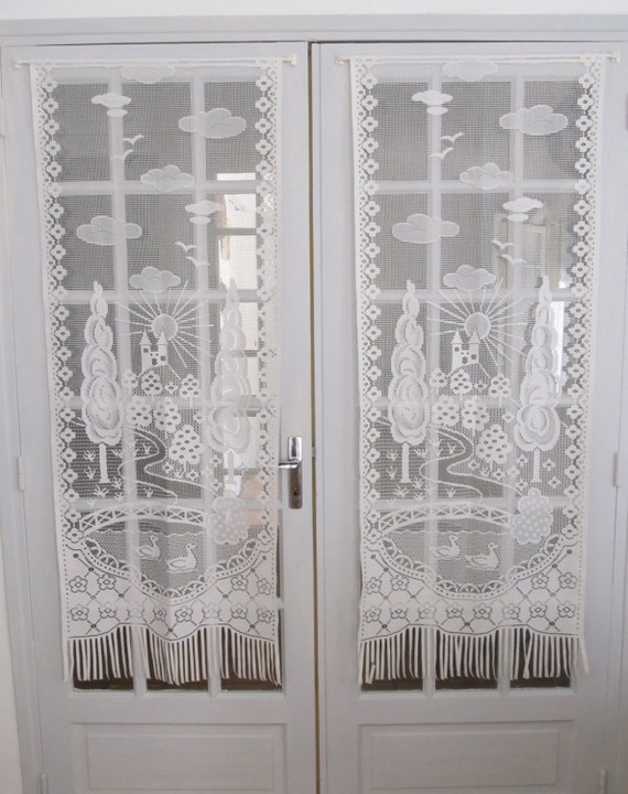 French White Lace Curtains, French Door Chateau Curtains