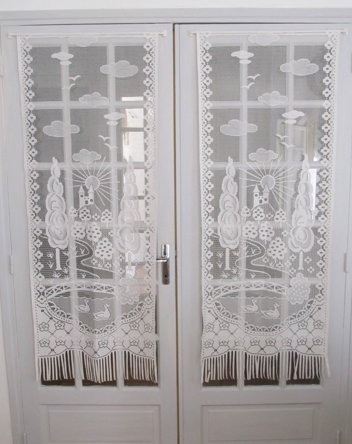 French White Lace Curtains French Door Chateau By