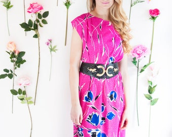 Raquel, French Vintage, 1970s Pink Floral Midi Dress, from Paris