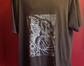 Hand Printed XLARGE Brown Tshirt, FIDDLE Fish, LINOLEUM Print, Nordstrom  organic cotton